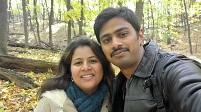 Srinivas Kuchibhotla poses for a photo with his wife, Sunayana Dumala [Kranti Shalia via AP]