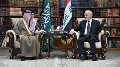 Al-Jubeir, left, is the first Saudi foreign minister to visit Iraq in more than 20 years [Iraqi Foreign Ministry Press Office/AFP]