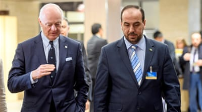 UN Syria envoy De Mistura (L) held talks with Syria's main opposition negotiator Nasr al-Hariri in Geneva on Thursday [Martial Trezzini/Reuters]