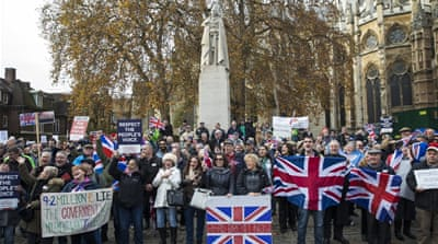 Pro-Brexit demonstrators protest outside the Houses of Parliament, London, on November 23 [Jack Taylor/Getty Images]