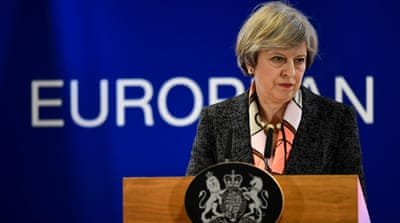 "Theresa May is is expected to urge the country to come together as it embarks on a ""momentous journey"" [Dylan Martinez/Reuters]"