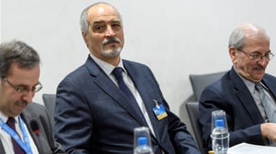 Bashar al-Jaafari insists on 'terrorism' being included as a core subject of discussions [Martial Trezzini/Reuters]