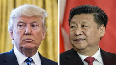 US President Donald Trump will host Chinese President Xi Jinping, right, on Thursday and Friday [Jim Lo Scalzo/Filip Singer/EPA]