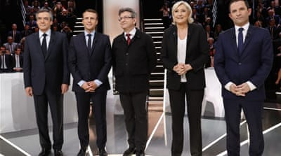Candidates Francois Fillon, Emmanuel Macron, Jean-Luc Melenchon, Marine Le Pen, and Benoit Hamon faced off in the first election debate [Patrick Kovarik/EPA]