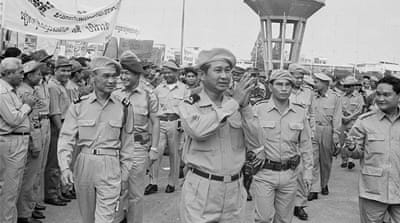 General Lon Nol, former prime minister of Cambodia, who incurred the principal debt of $276m, attends a national solidarity rally in Cambodia on April 16, 1970 [Ian Brodie/Getty Images]