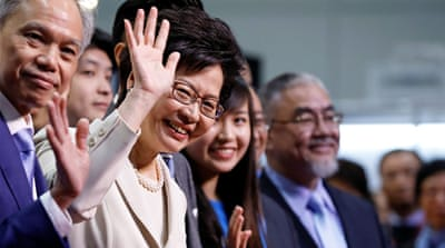 Carrie Lam, Hong Kong's new leader, vowed to heal the city's political divide [Tyrone Siu/Reuters]
