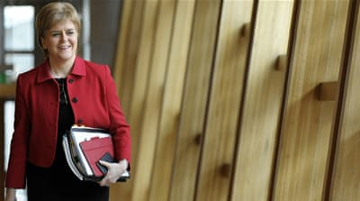 Sturgeon told Scottish legislators she would negotiate with the British government [Russell Cheyne/AFP]