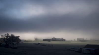A view on a field and houses covered with fog in Ennetmoos, Switzerland, December 14, 2016. [Daylife]