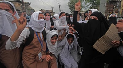 Female Kashmiri students lead anti-India protests