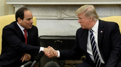 "Sisi says he appreciated that Trump has been ""standing very strong ... to counter this evil ideology"" [Reuters]"