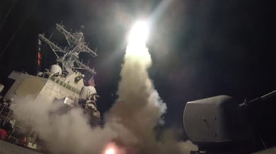 The US blasted a Syrian air base with a barrage of cruise missiles in fiery retaliation for this week's chemical attack [AP]