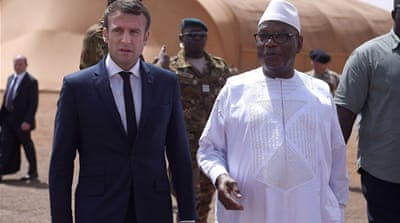 Emmanuel Macron visits French troops in northern Mali