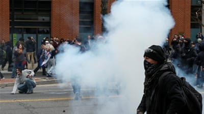 Police were accused of using pepper spray indiscriminately during anti-Trump protests [Adrees Latif/Reuters]