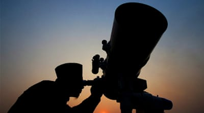 Telescope for the sighting of the new moon in Jakarta [Rivan Awal Lingga/Reuters]