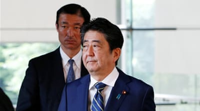 Abe denies favours for friend Kake amid falling support