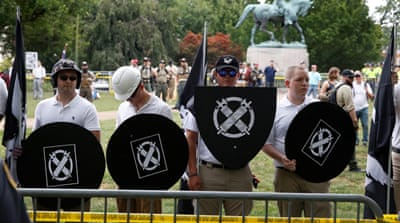 Trump has blamed both sides for violence in Charlottesville [Kevin Lamarque/Reuters]