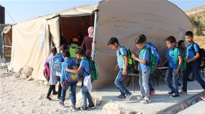 Children learn in tent after Israel demolishes school