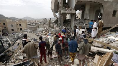 HRW said that the Saudi-led coalition had conducted scores of 'unlawful air strikes' in Yemen [Mohammed Huwais/AFP]