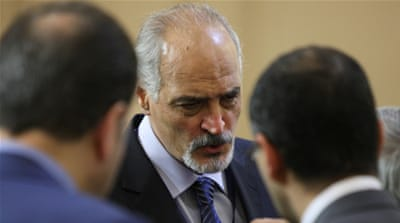 Syrian chief negotiator Bashar al-Jaafari during peace talks in Astana, Kazakhstan, in 2017 [Reuters]