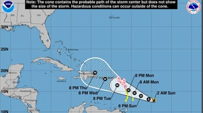 Tropical Storm Maria heads towards the Caribbean