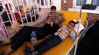 Yemeni children suspected of being infected with cholera receive treatment [File: Mohammed Huwais/AFP]