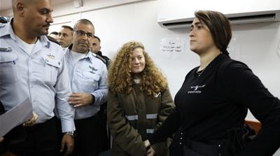 Ahed Tamimi, 16, was arrested last month during overnight raid on her home in occupied West Bank village of Nabi Saleh [Ammar Awad/Reuters]