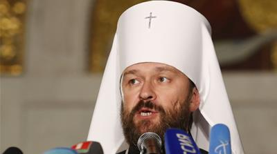 Head of the Russian Orthodox Church chaired a meeting of the Holy Synod in Minsk [Vasily Fedosenko/Reuters]