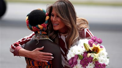 Melania Trump opens Africa tour in Ghana with baby weighing