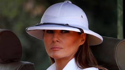 When Melania went to Africa wearing a pith helmet