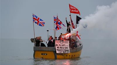 "British fishermen stage a ""Fishing for Leave"" protest against Prime Minister Theresa May's Brexit transition deal, in Hastings, England, April 8, 2018 [Reuters]"