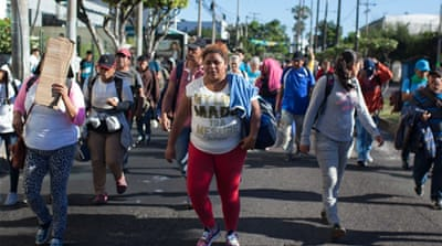 New migrant caravans form as initial groups arrive at US border