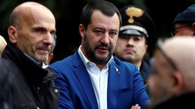 Italy's Interior Minister Matteo Salvini laughed off the EU's move on Italy's budget, saying: 'Has the letter from Brussels arrived? I'm waiting for one from Father Christmas too.' [File: Yara Nardi/Reuters]