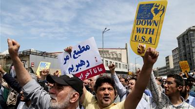 Thousands took to the streets in Tehran on Sunday to denounce US' policy on Iran [Reuters]