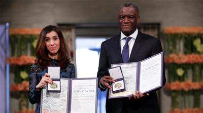 Mukwege and Murad received the gold medals, diplomas and $1m which they will share [NTB Scanpix via Reuters]