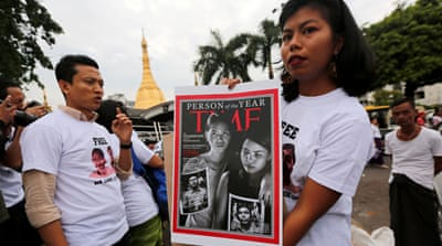 Myanmar: Protests mark 1-year detention of Reuters reporters