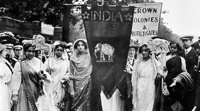 Indian suffragettes in the Women's Coronation Procession, London, on June 17, 1911 [Museum of London/Heritage Images/Getty Images]
