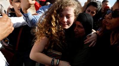 Palestinian teen activist Ahed Tamimi freed from jail