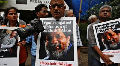 Alam was arrested on for 'provocative comments' hours after his comments about protests were broadcast on Al Jazeera [Mohammad Ponir Hossain/Reuters]