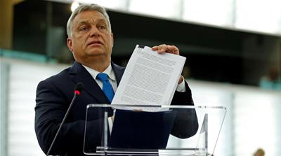 The unprecedented vote could allow Hungary's EU voting rights to be stripped [Vincent Kessler/Reuters]