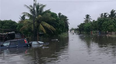 Flooding in Mozambique as Tropical Cyclone Desmond makes landfall