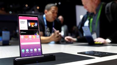 A Galaxy Note9 smartphone is displayed in the Samsung Electronics booth during the 2019 CES in Las Vegas