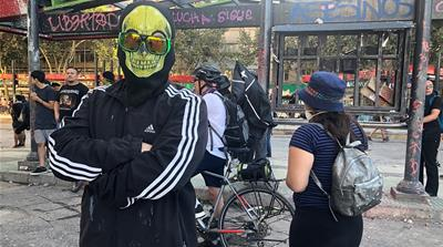 Chile- masked protester