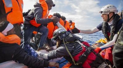 Migrants rescued from Mediterranean on Ocean Viking after fleeing Libya