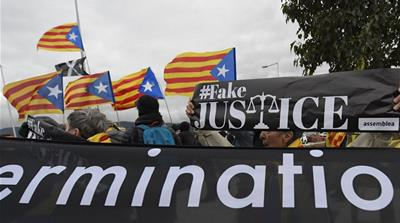 Little has changed since Catalonia's failed independence declaration as secessionists still rally and their leaders remain in prison [File: Lluis Gene/AFP]