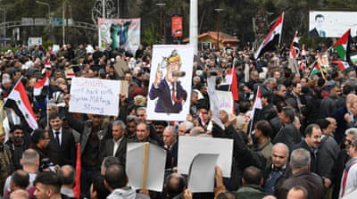 Syrians protest as Hezbollah urges resistance over US Golan move