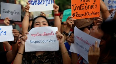 Thai demonstrators protest against alleged polls cheating