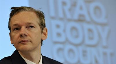 Founder of the WikiLeaks website, Julian Assange, speaks during a press conference in London [Lennart Preiss/AP Photo]