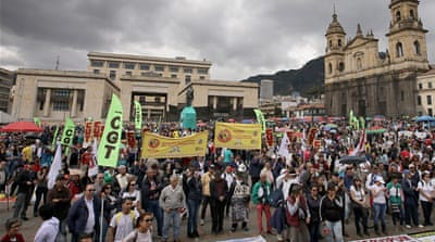 Thousands hold 'national strike' in Colombia over budget cuts