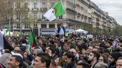 Thousands of Algerians in Paris mark the end of Bouteflika's rule
