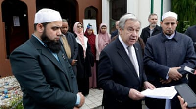 UN chief visits NZ mosques, says hate speech must be extinguished